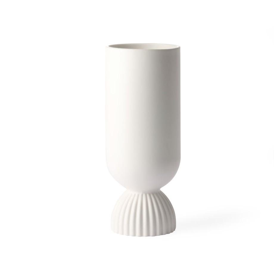 Vase tige blanc mate