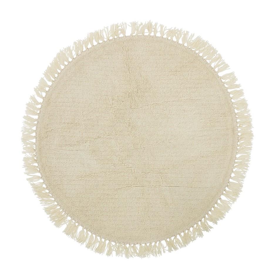 Tapis rond en laine crème