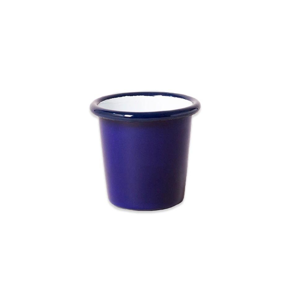 Mini cup métal émaillé bleu